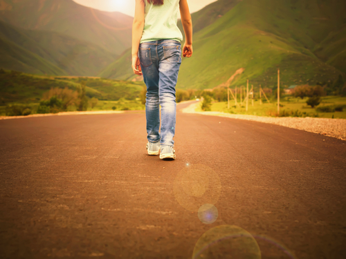 girl, road, mountains, sunset, happiness, road